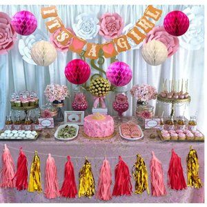 It's a Girl baby shower decorations kit pink gold